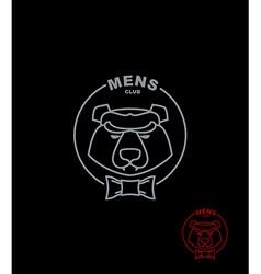Bear mens Club Wild Animal logo on a black vector image