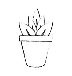 black blurred silhouette cartoon plant in pot vector image vector image