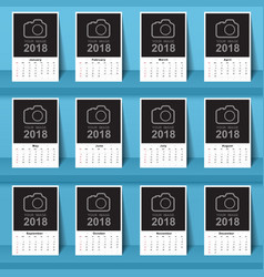 Calendar 2017 template design week starts from vector