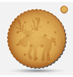 Christmas brown biscuit with reindeer symbol eps10 vector