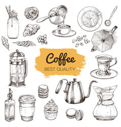 Coffee set of hand drawn elements vector