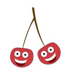 Color kawaii happy cherrys icon vector