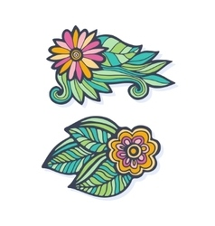 Creative hand drawn flowers set vector image vector image
