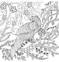 Cute parrot in fantasy garden vector image vector image