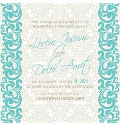 damask wedding invitation blue vector image vector image