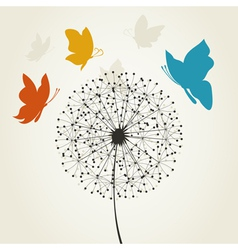 Dandelion and the butterfly vector image
