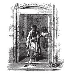 Doorway in the middle east vintage engraving vector