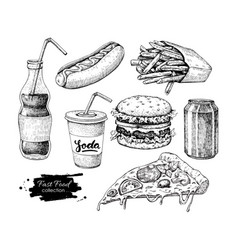 Fast food hand drawn set engraved style vector