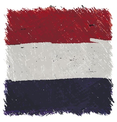 Flag of netherlands handmade square shape vector