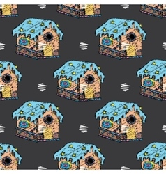 Gingerbread houses and homes seamless pattern for vector image