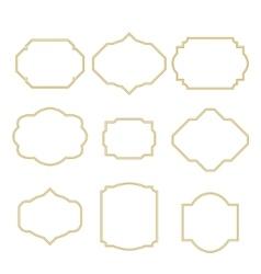 Gold border white empty frame set for cards vector image