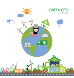 Green house save the planet vector