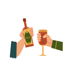 hands with glass of drink bottle toasting vector image