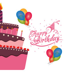 Happy birthday cake balloons confetti celebration vector