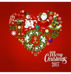 Heart created of christmas and new year icons vector