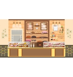 Interior of bake shop bake sale business of vector