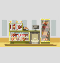 Meat department in supermarket with counter and vector