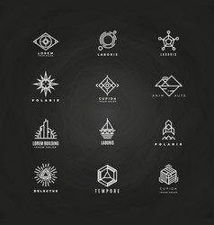 Minimal geometric logo set on blackboard vector