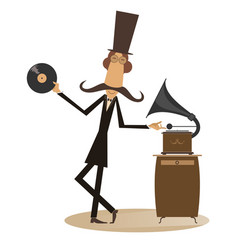 mustached man and vintage record player vector image vector image