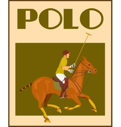 Polo player on horse poster vector