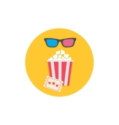 Popcorn box 3D glasses and ticket Cinema Movie vector image vector image