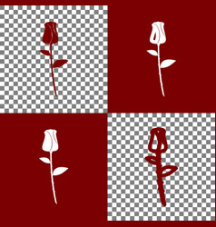 Rose sign bordo and white vector