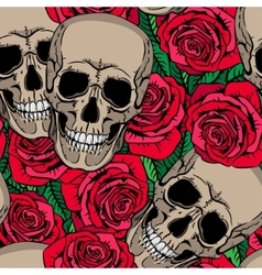Seamless pattern with skulls and red roses vector image vector image