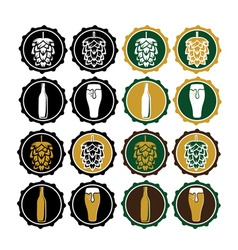 set of vintage beer cap labels vector image vector image