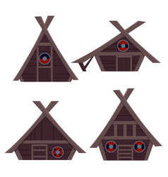 set viking house vector image