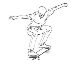 Skateboarder line art vector