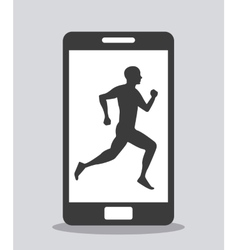 smartphone device and person running vector image