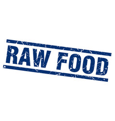 Square grunge blue raw food stamp vector