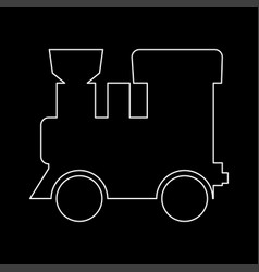 steam locomotive - train white color path icon vector image vector image