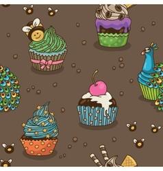 Sweet cupcake pattern vector image
