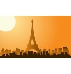 The eiffel tower in paris silhouette vector