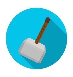 Viking battle hammer icon in flat style isolated vector