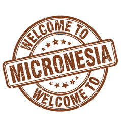 Welcome to micronesia brown round vintage stamp vector
