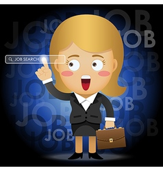 woman searching for job by pointing search bar vector image vector image
