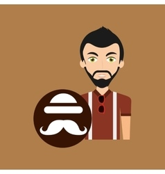 Young hipster man bowler hat and mustache vector