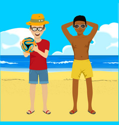 young men posing with soccer ball on summer beach vector image vector image