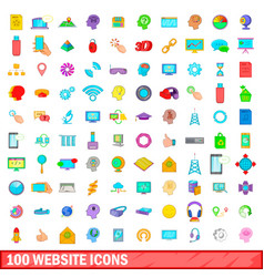 100 website icons set cartoon style vector