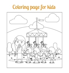 Coloring page for kids amusement park vector
