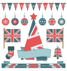 Uk christmas objects vector