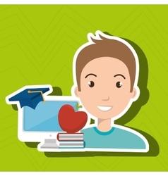 Man student pc books vector