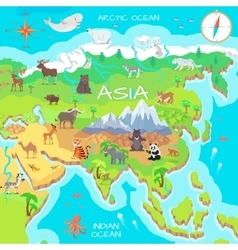 Asia mainland cartoon map with fauna species vector