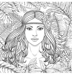 Girl and tropical plants vector