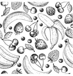 Summer fruit seamless pattern hand drawn vintage vector
