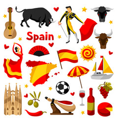 spain icons set spanish traditional symbols and vector image