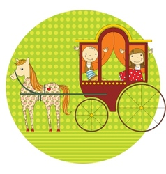 Ride in a carriage vector