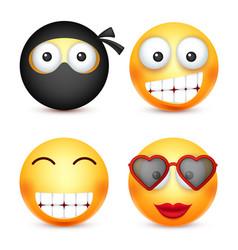 Smiley set ninja happy emoticon yellow face vector